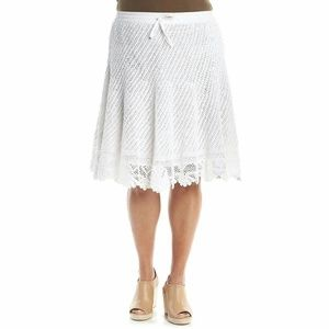 🎉 Nwt 3X Chelsea and Theodore white crochet skirt